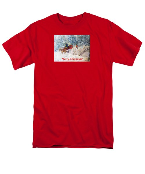 Winter Carriage In Central Park Christmas Card Men's T-Shirt  (Regular Fit) by Loretta Luglio