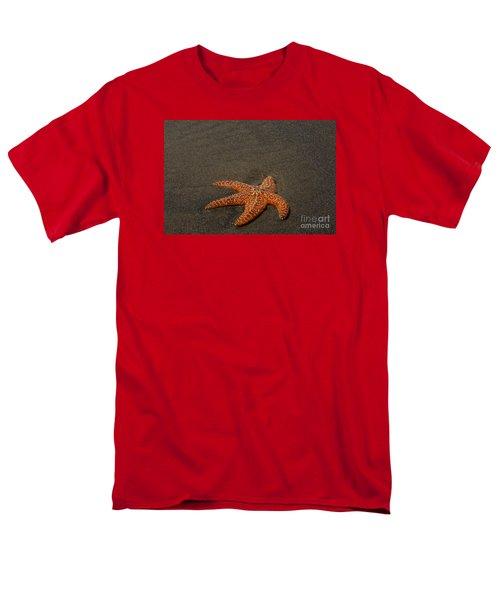 Orange Starfish On Oregon Beach Men's T-Shirt  (Regular Fit) by Chuck Flewelling