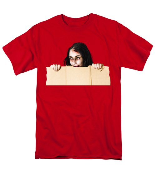 Men's T-Shirt  (Regular Fit) featuring the photograph Zombie Woman Peering Out Cardboard Box by Jorgo Photography - Wall Art Gallery