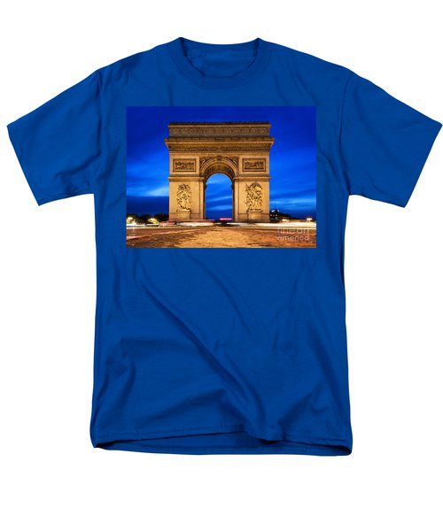 Arc De Triomphe At Night Paris France  Men's T-Shirt  (Regular Fit) by Michal Bednarek