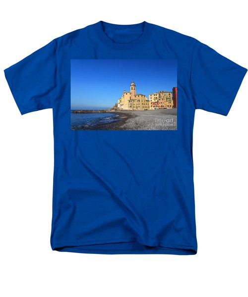 Men's T-Shirt  (Regular Fit) featuring the photograph beach and church in Camogli by Antonio Scarpi