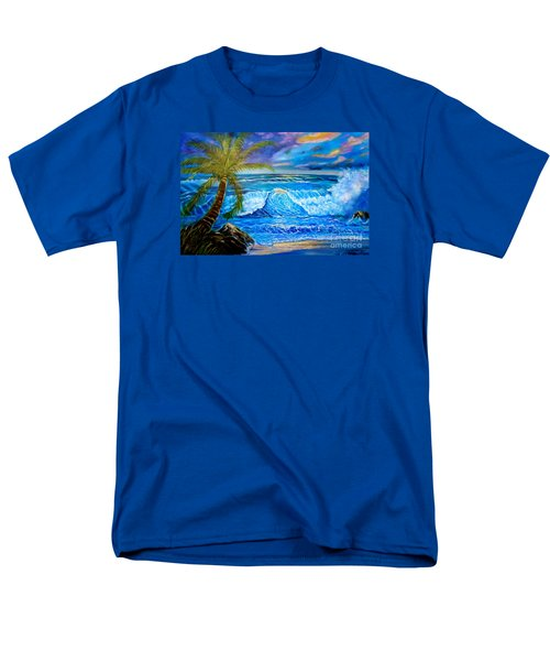 Men's T-Shirt  (Regular Fit) featuring the painting Beach Sunset In Hawaii by Jenny Lee