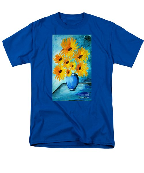 Beautiful Sunflowers In Blue Vase Men's T-Shirt  (Regular Fit) by Ramona Matei