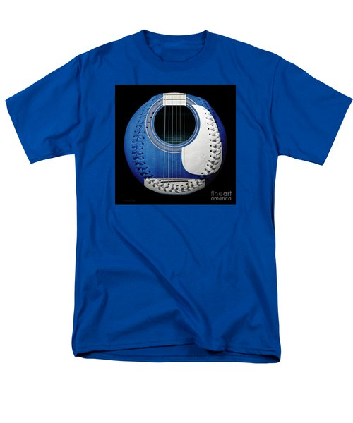 Men's T-Shirt  (Regular Fit) featuring the photograph Blue Guitar Baseball White Laces Square by Andee Design