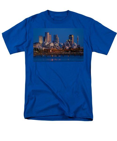 city lights and blue hour at Tel Aviv Men's T-Shirt  (Regular Fit) by Ron Shoshani