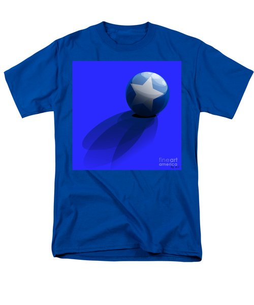 Men's T-Shirt  (Regular Fit) featuring the digital art Blue Ball Decorated With Star Grass Blue Background by R Muirhead Art