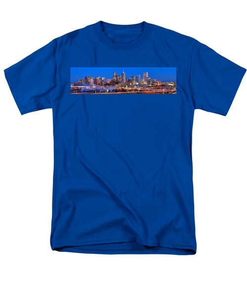 Men's T-Shirt  (Regular Fit) featuring the photograph Denver Skyline At Dusk Evening Color Evening Extra Wide Panorama Broncos by Jon Holiday
