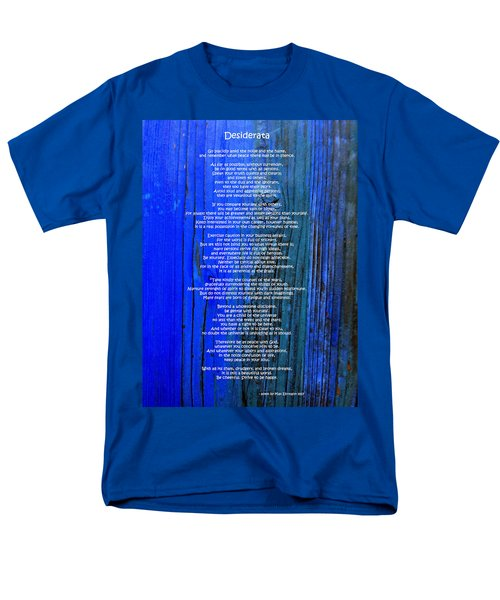 Desiderata On Blue Men's T-Shirt  (Regular Fit) by Leena Pekkalainen