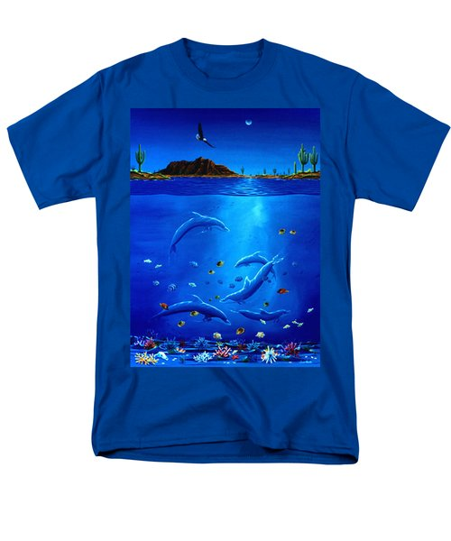 Eagle Over Dolphins Men's T-Shirt  (Regular Fit) by Lance Headlee
