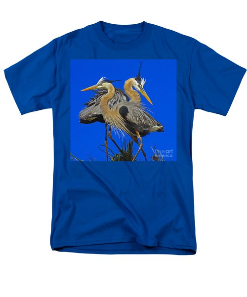 Men's T-Shirt  (Regular Fit) featuring the photograph Great Blue Heron Family by Larry Nieland
