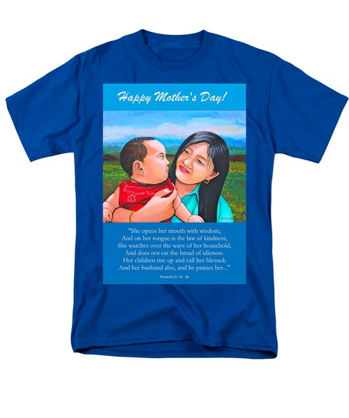 Men's T-Shirt  (Regular Fit) featuring the mixed media Happy Mom And Babe by Cyril Maza