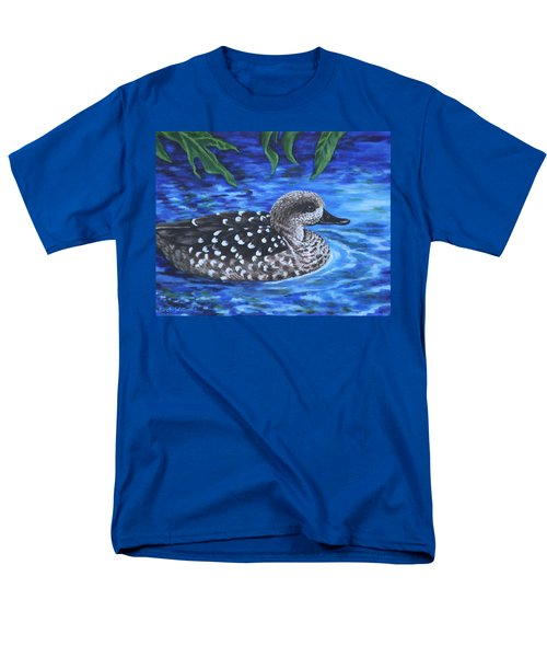 Men's T-Shirt  (Regular Fit) featuring the painting Marbled Teal Duck On The Water by Penny Birch-Williams