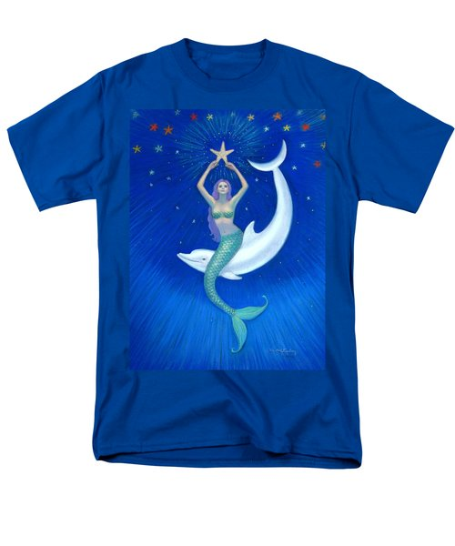Mermaids- Dolphin Moon Mermaid Men's T-Shirt  (Regular Fit) by Sue Halstenberg
