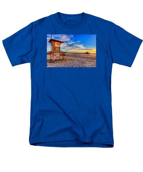 Newport Beach Pier - Wintertime  Men's T-Shirt  (Regular Fit) by Jim Carrell