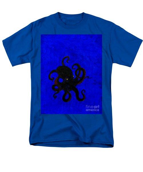 Octopus Black And Blue Men's T-Shirt  (Regular Fit) by Stefanie Forck