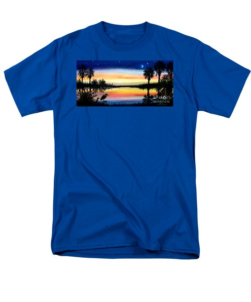 Men's T-Shirt  (Regular Fit) featuring the painting Palmetto Tree Moon And Stars Low Country Sunset IIi by Patricia L Davidson