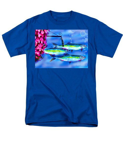 Men's T-Shirt  (Regular Fit) featuring the photograph Petunia's And Sky Fish Bubbles by Patricia L Davidson