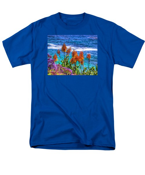 Men's T-Shirt  (Regular Fit) featuring the photograph Red Aloe By The Pacific by Jim Carrell