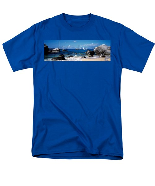 Sailboats In The Sea, The Baths, Virgin Men's T-Shirt  (Regular Fit) by Panoramic Images