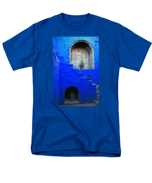 Staircase In Blue Courtyard Men's T-Shirt  (Regular Fit) by RicardMN Photography