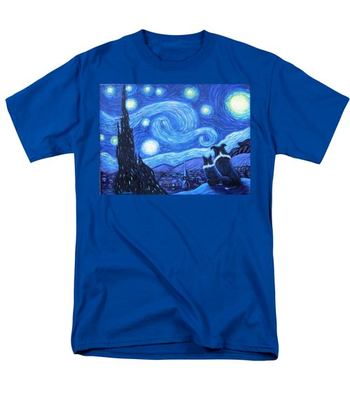 Men's T-Shirt  (Regular Fit) featuring the painting Starry Night Border Collies by Fran Brooks