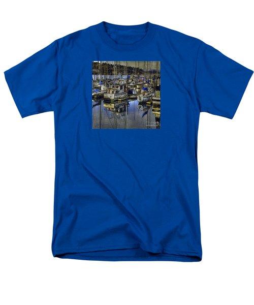 Men's T-Shirt  (Regular Fit) featuring the photograph Still Water Masts by Jean OKeeffe Macro Abundance Art
