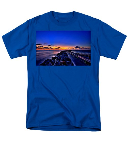 Men's T-Shirt  (Regular Fit) featuring the painting Sunrise On The Pier by Bruce Nutting