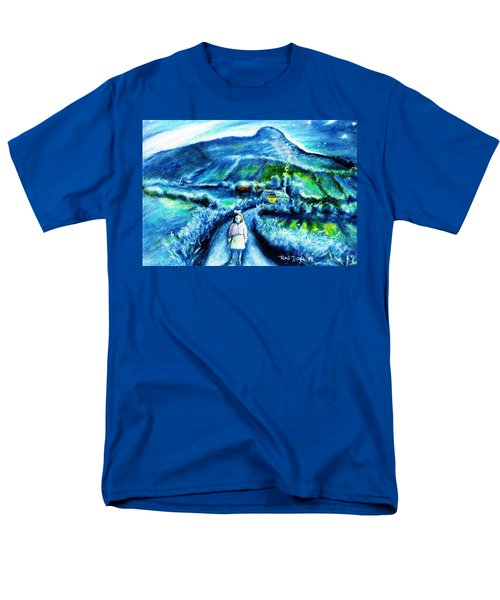Men's T-Shirt  (Regular Fit) featuring the painting The White Ribbon - Eagle Hill  by Trudi Doyle