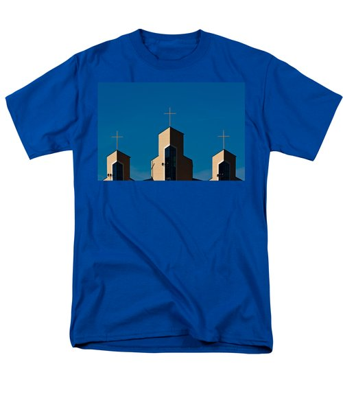 Men's T-Shirt  (Regular Fit) featuring the photograph Three Crosses Of Livingway Church  by Ed Gleichman