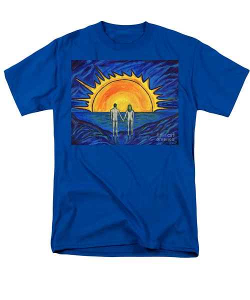 Men's T-Shirt  (Regular Fit) featuring the painting Waiting For The Sun by Roz Abellera Art
