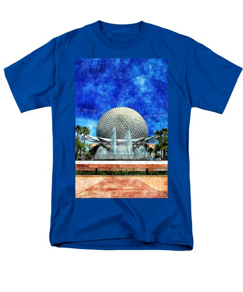 Men's T-Shirt  (Regular Fit) featuring the digital art Spaceship Earth And Fountain Of Nations by Sandy MacGowan