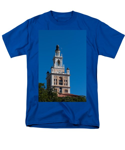 Men's T-Shirt  (Regular Fit) featuring the photograph Biltmore Hotel Tower And Moon by Ed Gleichman