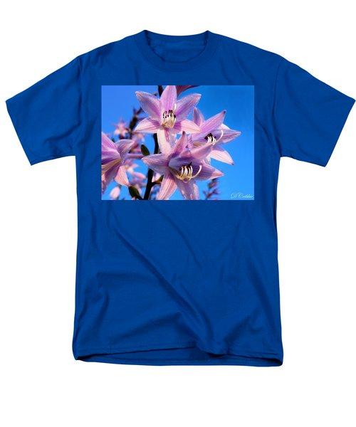 Men's T-Shirt  (Regular Fit) featuring the photograph Purple Hosta Blooms by Davandra Cribbie