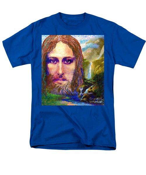 Men's T-Shirt  (Regular Fit) featuring the painting  Contemporary Jesus Painting, Chalice Of Life by Jane Small