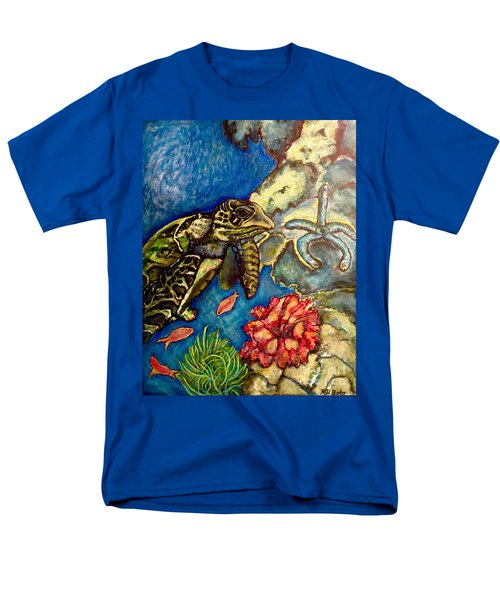 Sweet Mystery Of The Sea A Hawksbill Sea Turtle Coasting In The Coral Reefs Original Men's T-Shirt  (Regular Fit) by Kimberlee Baxter