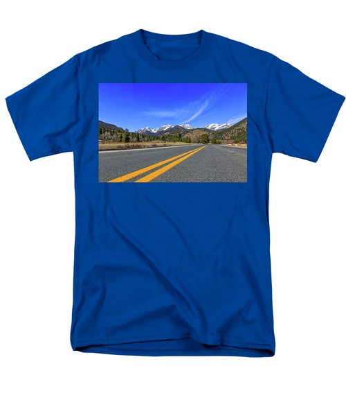 Men's T-Shirt  (Regular Fit) featuring the photograph Fall River Road With Mountain Background by Peter Ciro