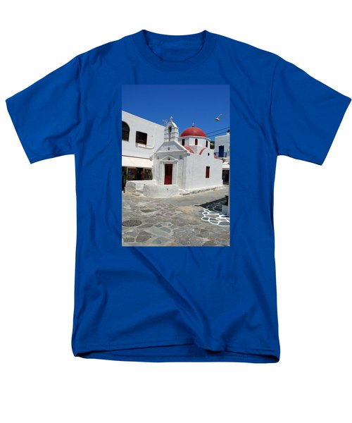 Men's T-Shirt  (Regular Fit) featuring the photograph Mykonos Red Chapel by Robert Moss