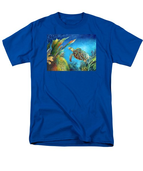 Men's T-Shirt  (Regular Fit) featuring the painting Sea Escape Iv - Hawksbill Turtle Flying Free by Nancy Tilles
