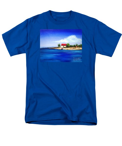 Men's T-Shirt  (Regular Fit) featuring the painting Sea Hill Boatshed - Original Sold by Therese Alcorn