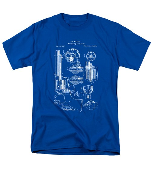 Men's T-Shirt  (Regular Fit) featuring the drawing 1875 Colt Peacemaker Revolver Patent Blueprint by Nikki Marie Smith