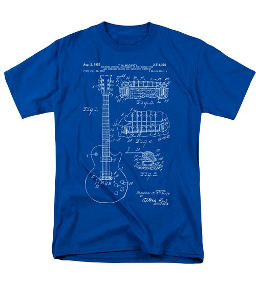 Men's T-Shirt  (Regular Fit) featuring the drawing 1955 Mccarty Gibson Les Paul Guitar Patent Artwork Blueprint by Nikki Marie Smith
