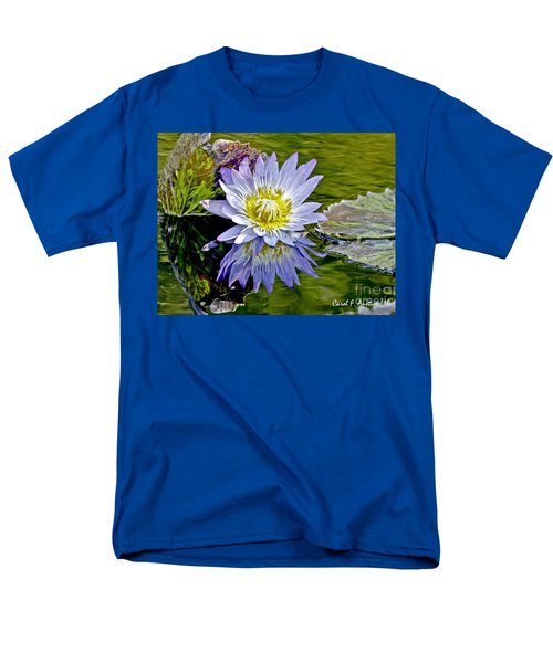 Purple Water Lily Pond Men's T-Shirt  (Regular Fit) by Carol F Austin