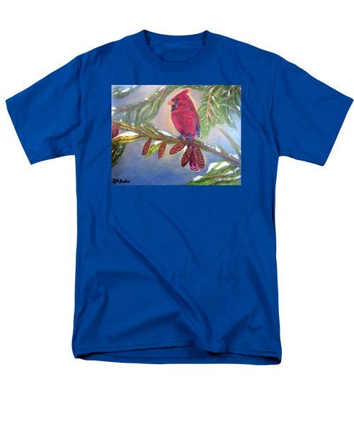 A Cardinal's Sweet And Savory Song Of Winter Thawing Painting Men's T-Shirt  (Regular Fit) by Kimberlee Baxter