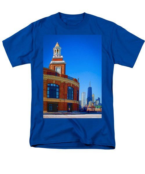 A Textured Navy Pier Men's T-Shirt  (Regular Fit) by Kathleen Scanlan