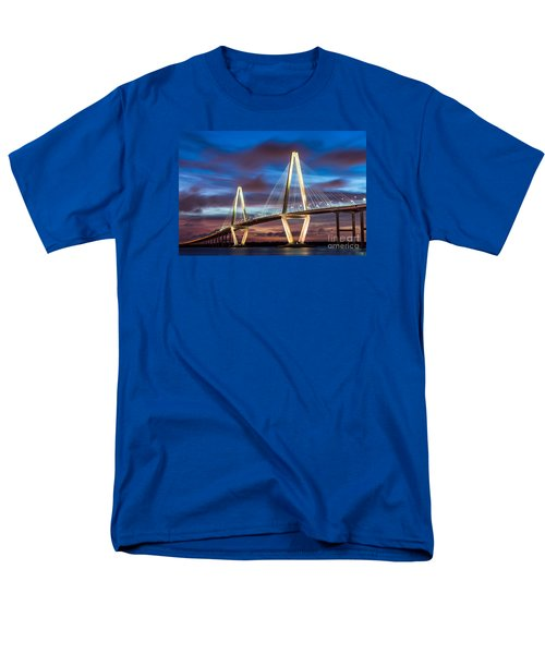 Arthur Ravenel Bridge At Night Men's T-Shirt  (Regular Fit) by Jennifer White