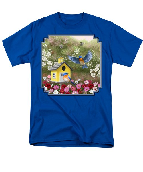 Bluebirds And Yellow Birdhouse Men's T-Shirt  (Regular Fit) by Crista Forest