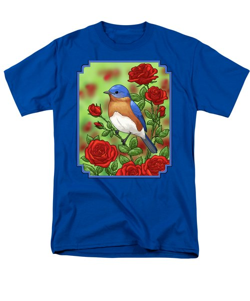 New York State Bluebird And Rose Men's T-Shirt  (Regular Fit) by Crista Forest