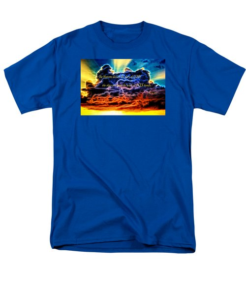 Men's T-Shirt  (Regular Fit) featuring the photograph Biblical Electrified Cumulus Clouds Skyscape - Psalm 19 1 by Shelley Neff