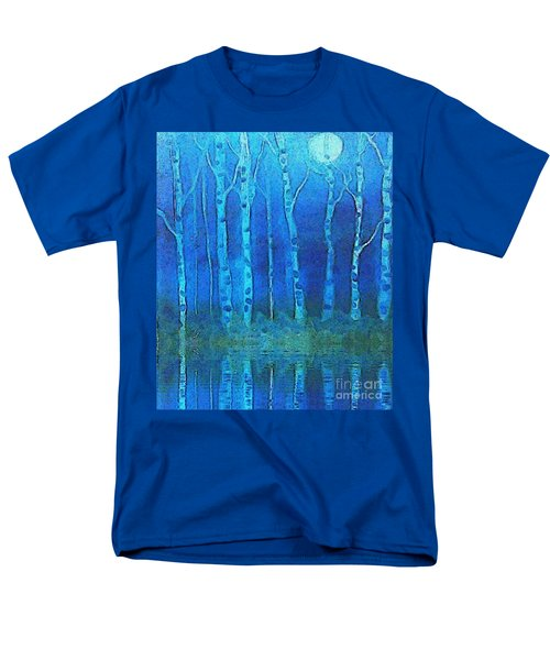 Men's T-Shirt  (Regular Fit) featuring the painting Birches In Moonlight by Holly Martinson