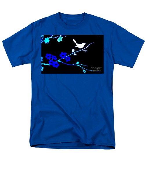 Bird In A Flower Tree Abstract Men's T-Shirt  (Regular Fit) by Marsha Heiken